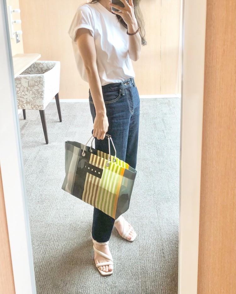 マルニ ストライプバッグ 新色 コーデ 画像 写真