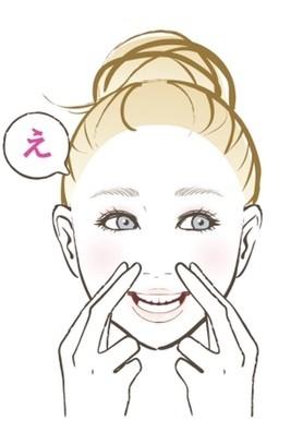 【顔筋ほぐし】人差し指と中指で、頬の筋肉の始点となる小鼻のわきをおさえる