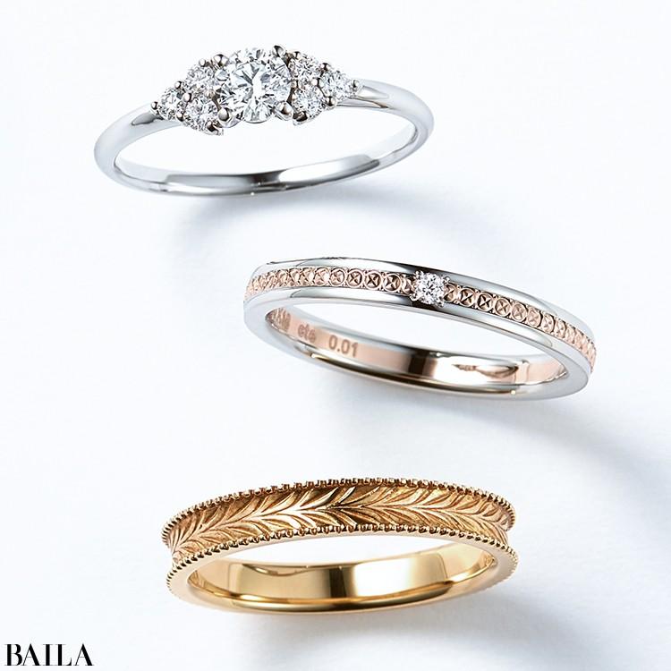両サイドのメレダイヤモンドが輝きを集めて、指先を華やかに