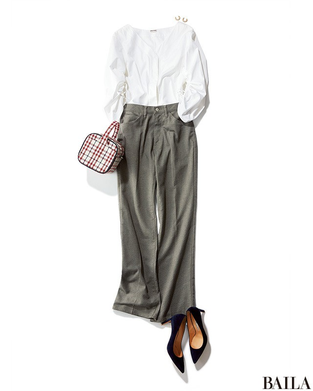 きれいめグレーパンツスタイルは、チェックのバッグで遊び心を♡【2018/6/5のコーデ】_1
