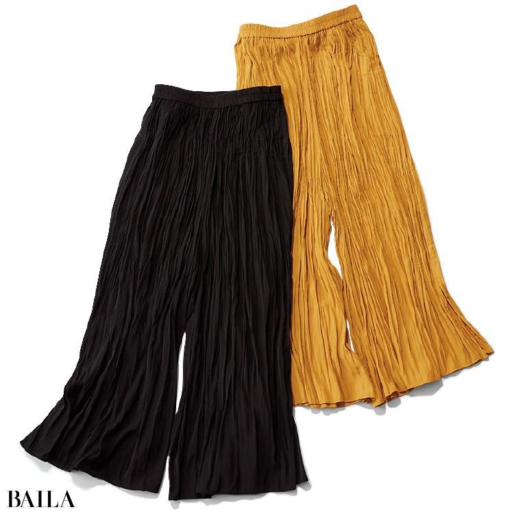 ユニクロのワッシャーサテンスカートパンツ