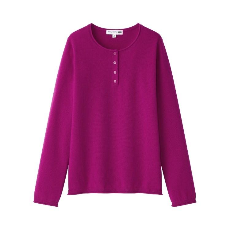 ユニクロ × イネス・ド・ラ・フレサンジュ 2021年秋冬コレクション カシミヤヘンリーネックセーター(長袖)¥8990