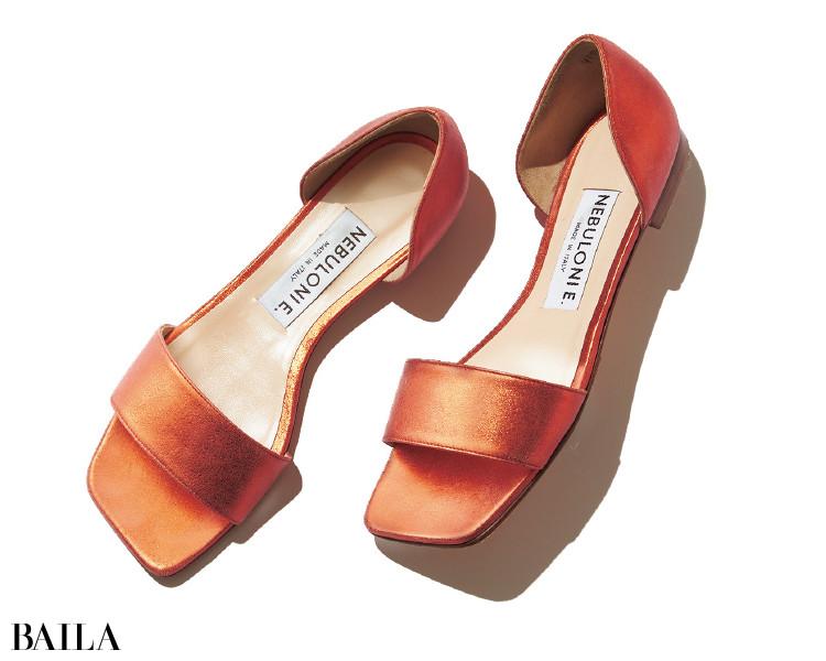 日焼け肌にもベストマッチな肌なじみのいいオレンジのネブローニの靴