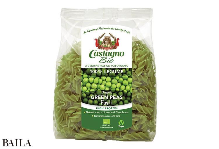 小麦粉不使用。カスターニョ オーガニック グリンピース フジッリ 250g ¥640/CHOOSEE
