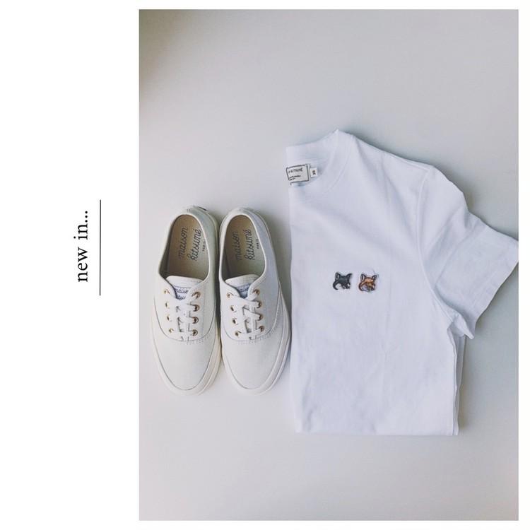【メゾンキツネ】のローテク白スニーカーがシンプルで可愛い!_2