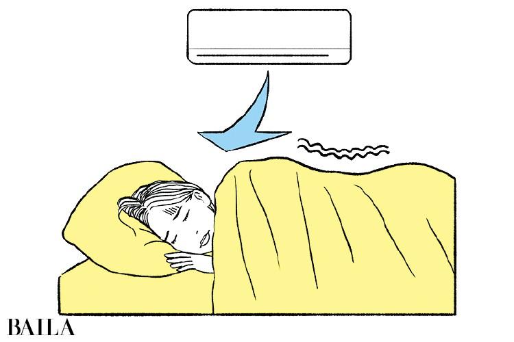 冷房の部屋での睡眠をやらない