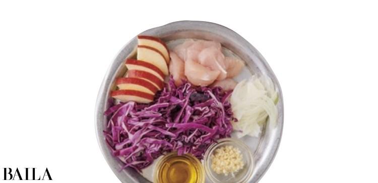 紫キャベツとささみの温かいマリネ材料