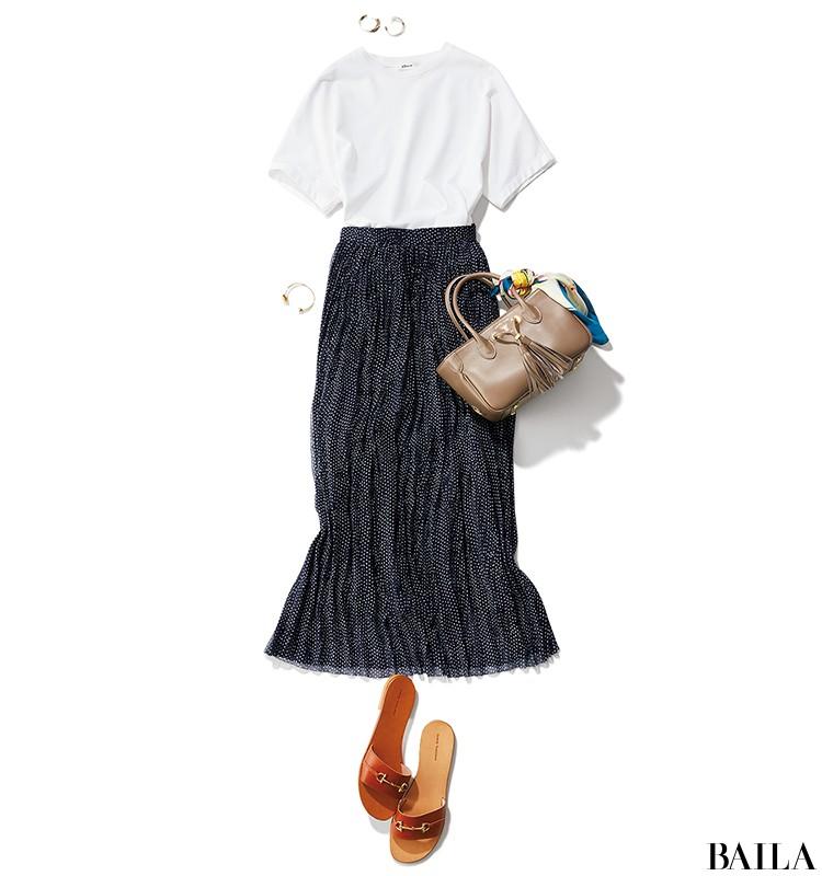 休日の英会話レッスンは、Tシャツ×透け感スカートのリラックスサマーコーデ【2019/8/3のコーデ】_1