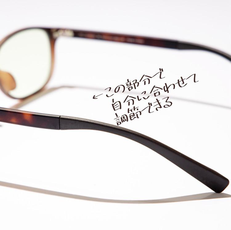 ブルーライトカットメガネ、JINS  SCREEN40%カットのテンプル部分の特徴