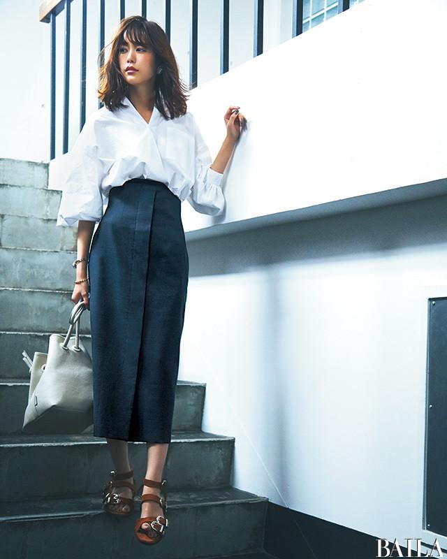 白シャツ×タイトスカートは、腰高バランスであか抜ける♡【2018/6/18のコーデ】_1
