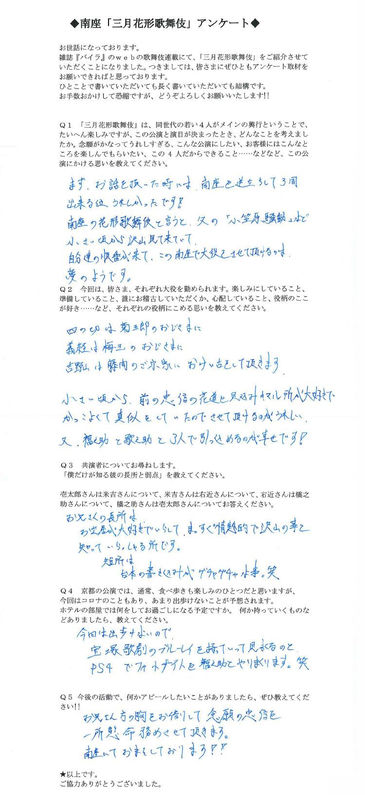 花形歌舞伎俳優の中村橋之助のアンケート