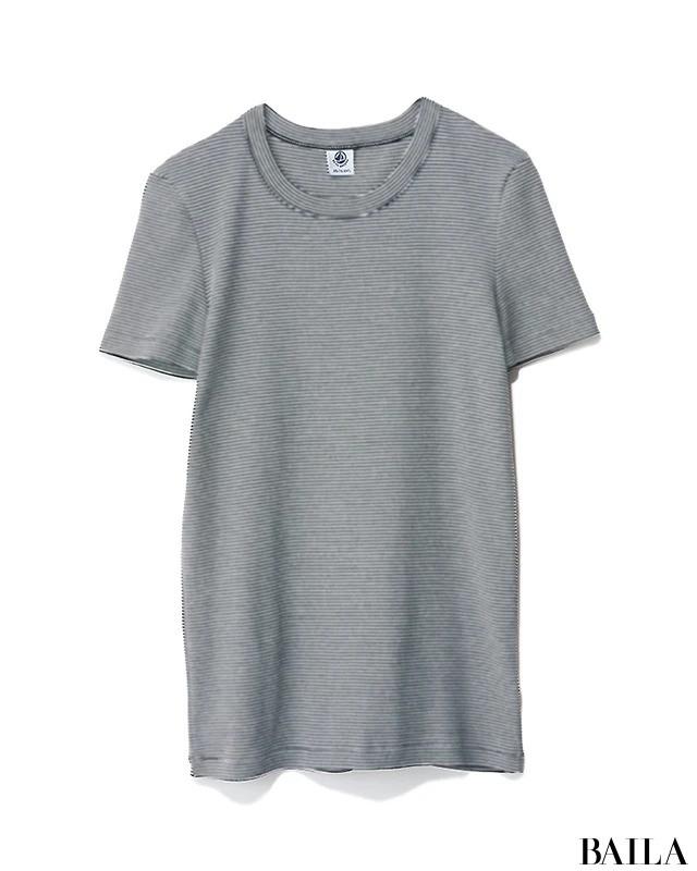 グレー細ボーダーTシャツ