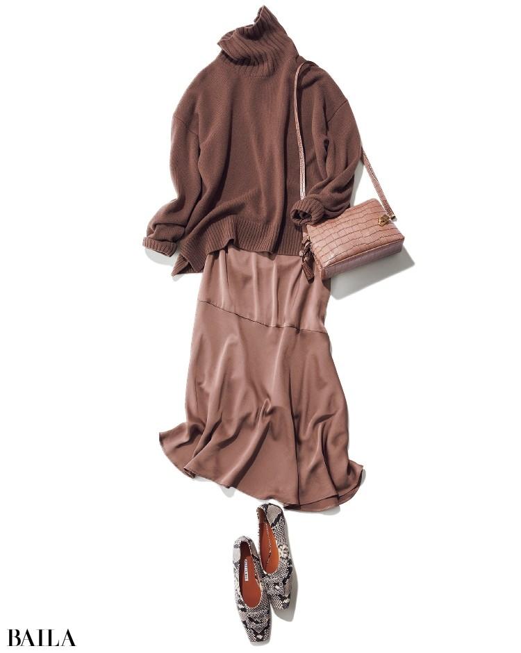 着やすいブラウンのニットのコーデ