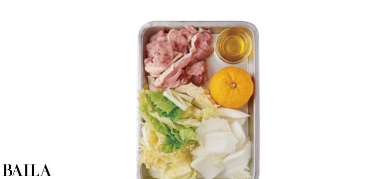 白菜の柚子塩オリーブ油鍋の材料