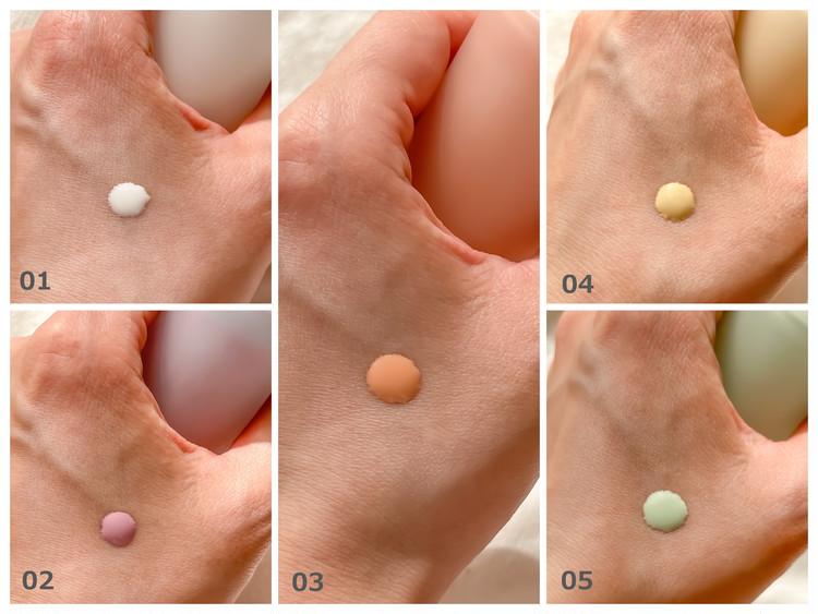 肌に足りないカラーを足すことで澄んだ明るさを引き出す、5色のカラーファンデーション。