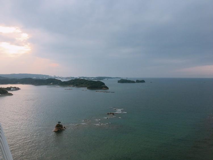田辺市の海。ホテルから。