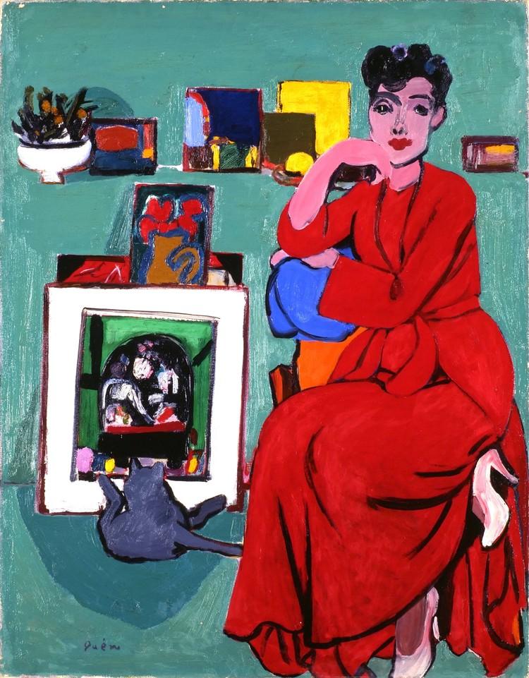 猪熊弦一郎《妻と赤い服》1950年
