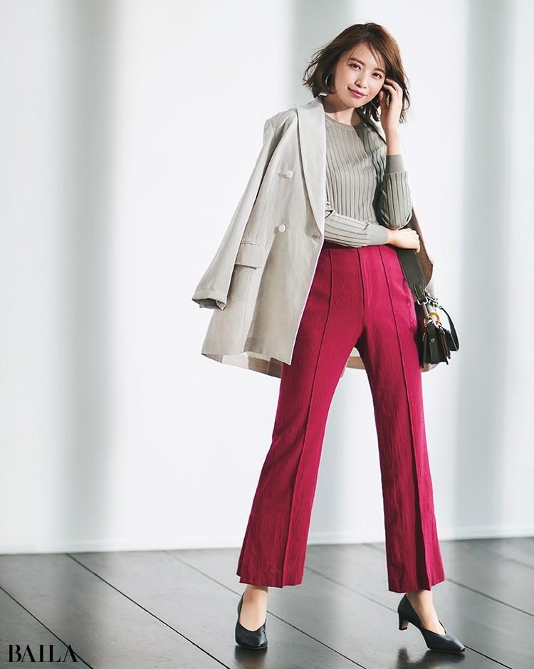 【着回し1】甘くない大人のピンクがハンサムなジャケットコーデに凜とした女らしさをプラス