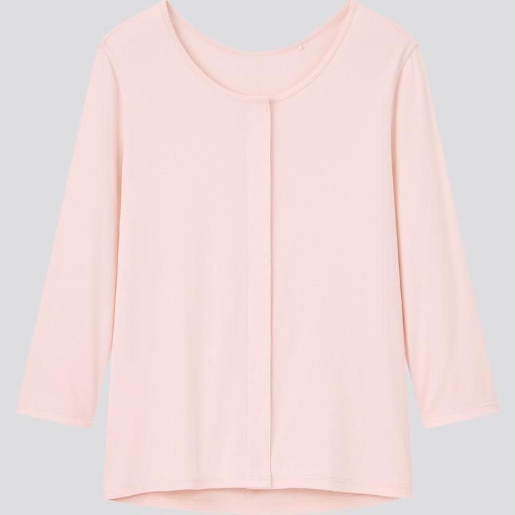 コットン 前あきUネックTシャツ(8分袖)¥1990