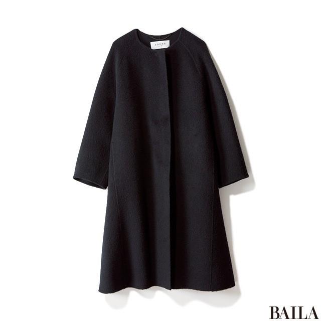 「スカートスタイルの上に黒のゆるっとコート」のギャップで大人っぽく! _2_2