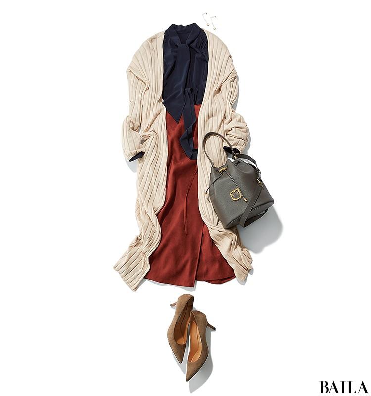 老舗企業に訪問する日は、きれいめブラウス×スカートの好感度スタイル【2019/10/9のコーデ】_1