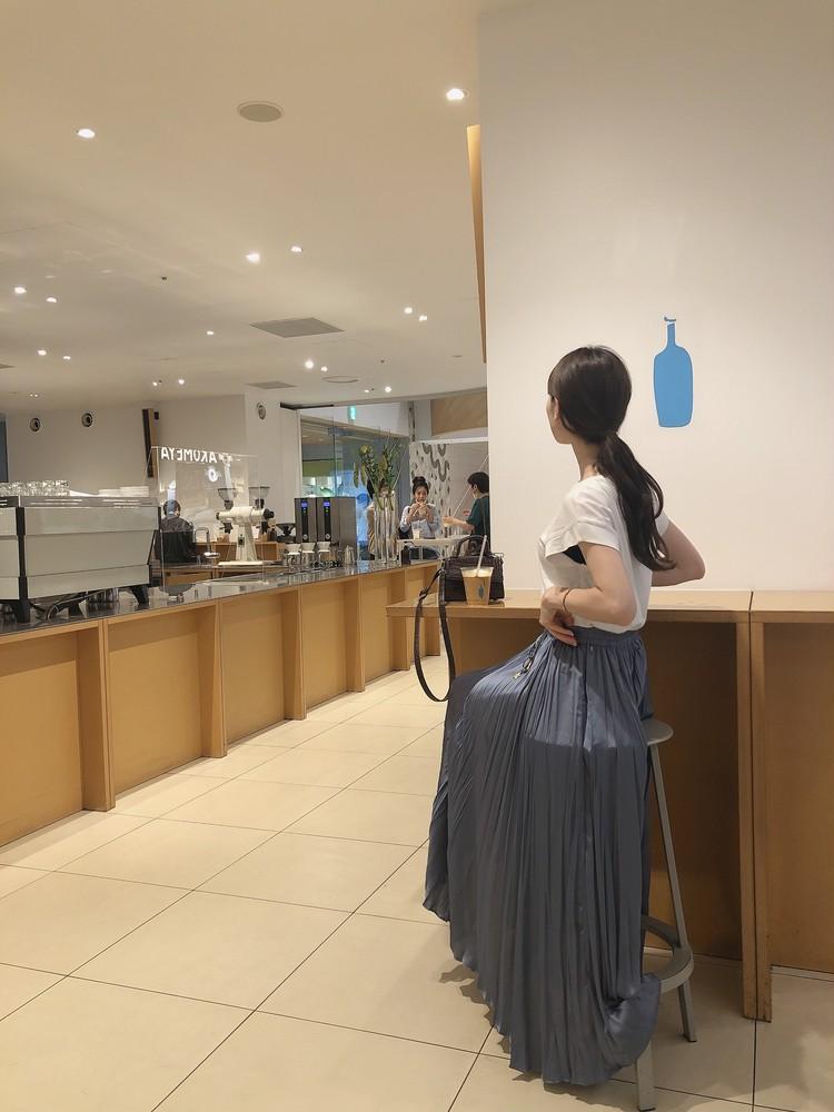 【ZARA】くすみブルーの主役級ロングスカート_5