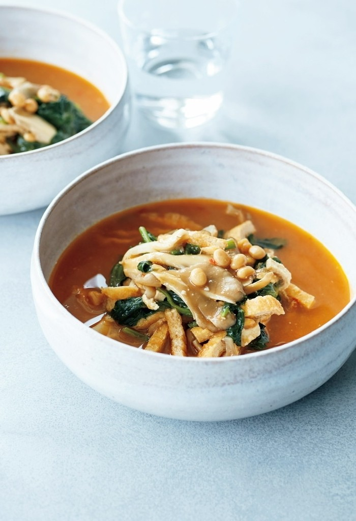 納豆のスパイシー味噌スープ