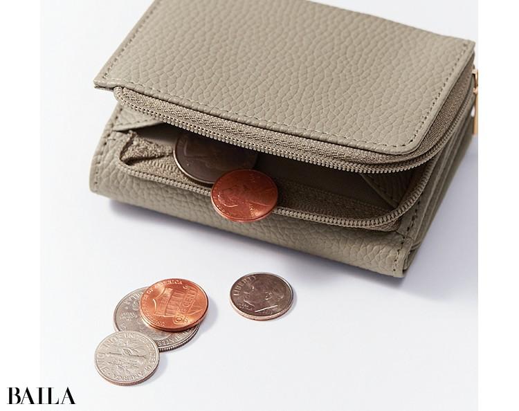 BAILA4月号付録ドゥーズィエム クラス上品グレージュミニ財布こだわりポイント3
