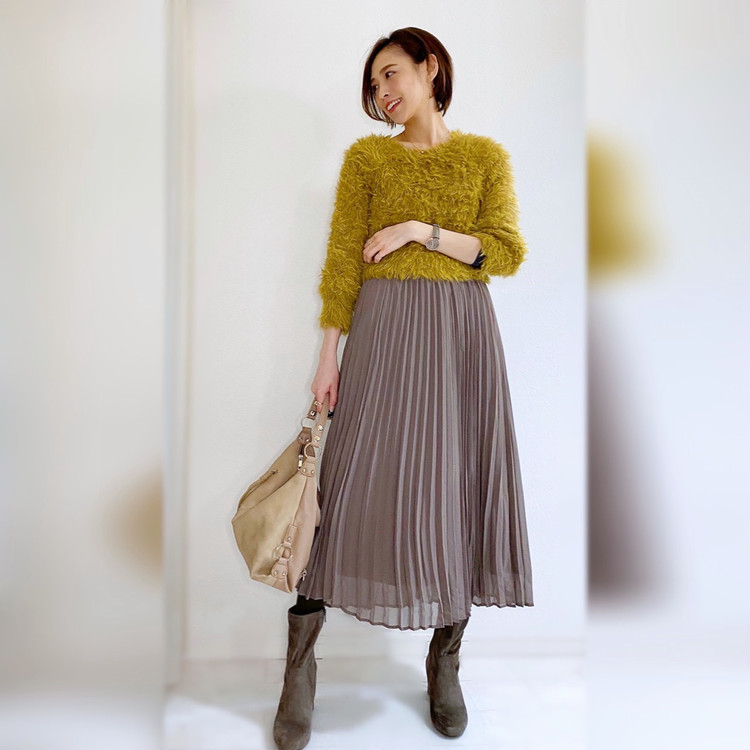 GUプリーツスカートと付録タイツで冬の華やかフェミニンコーデ_6