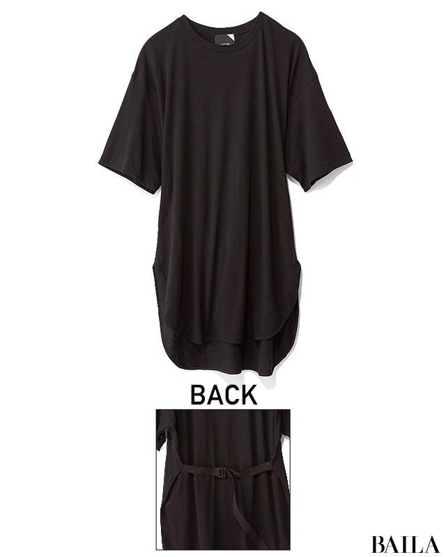 黒ロング丈Tシャツ