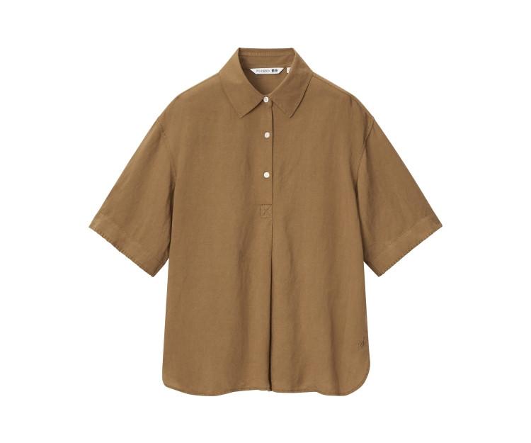 「ユニクロ アンド JW アンダーソン」2021春夏最新コレクション リネンブレンドプルオーバーシャツ(半袖)¥2990