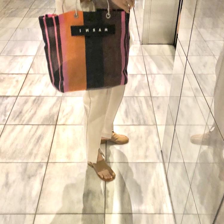マルニ marni ストライプバッグ マルチピンク 画像