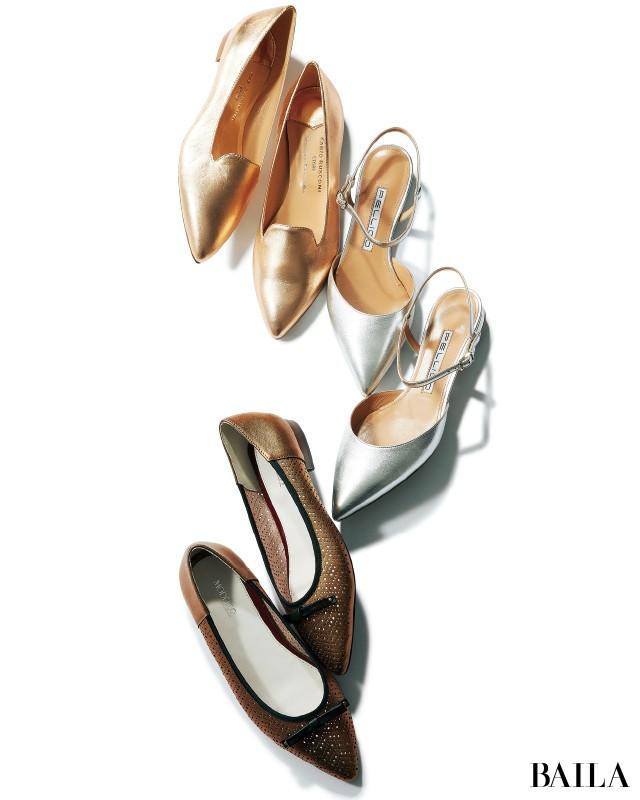 「まじめベージュワンピ」×「強めメタリックフラット靴」でつくるモードスタイル_4