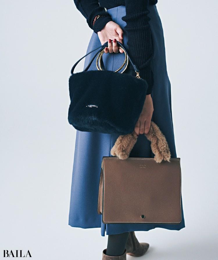 (右)オーエーディー ニューヨークのバッグ、(左)ブルーレーベル・クレストブリッジのバッグ