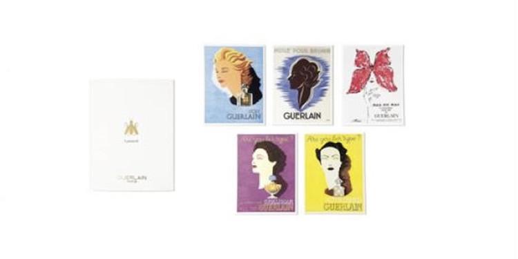 ゲランの香水の女性像を描いたポストカード
