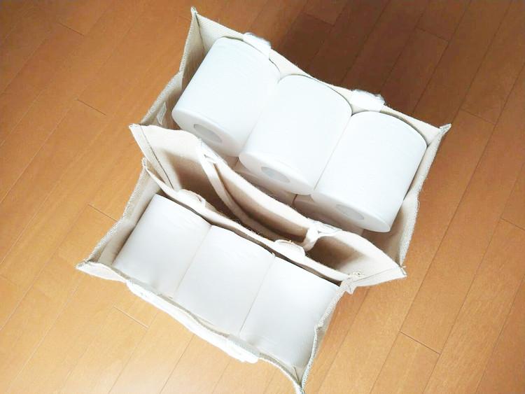 トイレットペーパーを入れたジュートマイバッグ