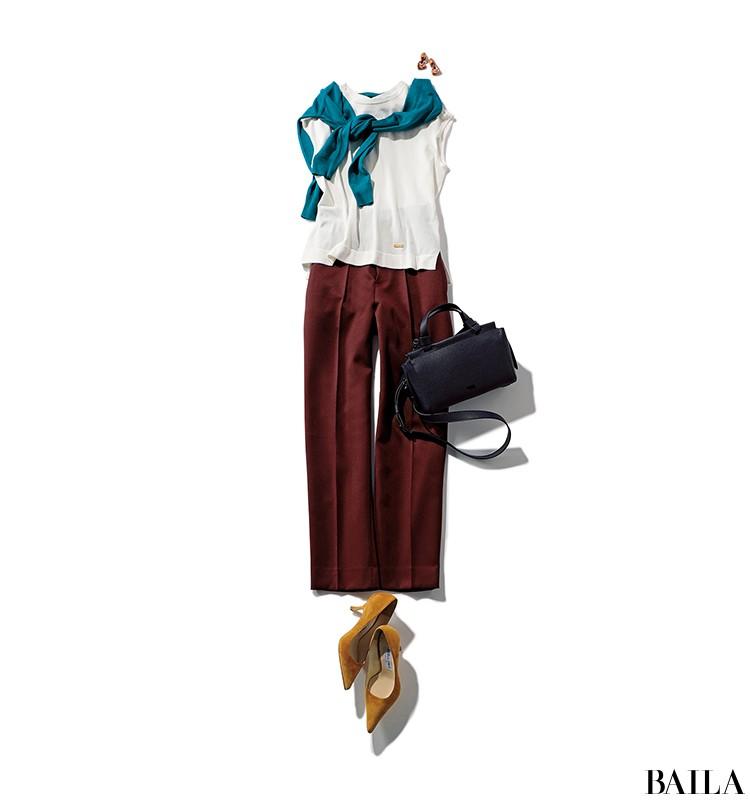 気分よく通勤したい日は、ブラウンパンツコーデに差し色カーデをプラスして!【2019/8/20のコーデ】_1