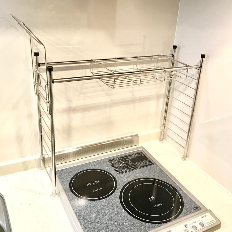 ニトリ(NITORI)の「キッチン伸縮シンク上ラック」をコンロ上に設置!