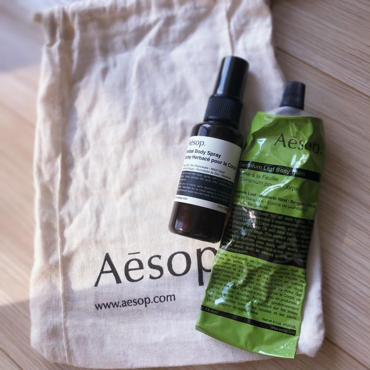 イソップのハーバルボディスプレーとゼラニウムリーフボディバーム Aēsop herbal body spray & geranium leaf body balm