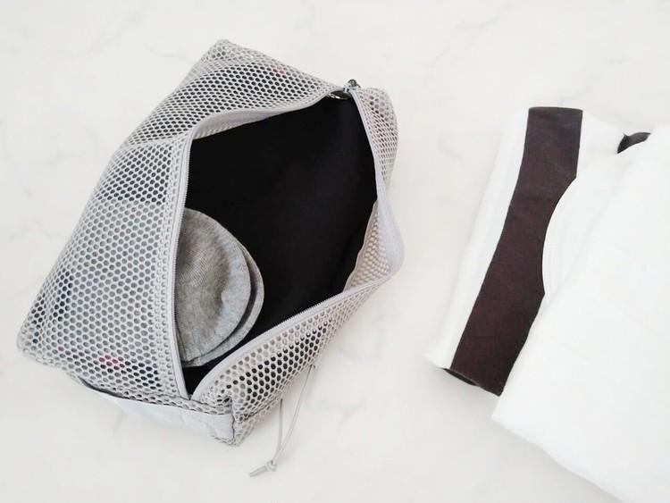 着替えを入れた立体メッシュタテに使える仕分けケース