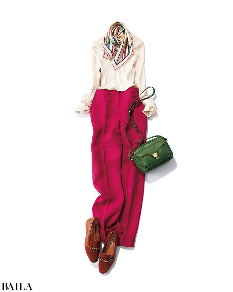 料理教室に行く日は、ベリー色パンツの美スタイルコーデ【2020/3/23のコーデ】_1