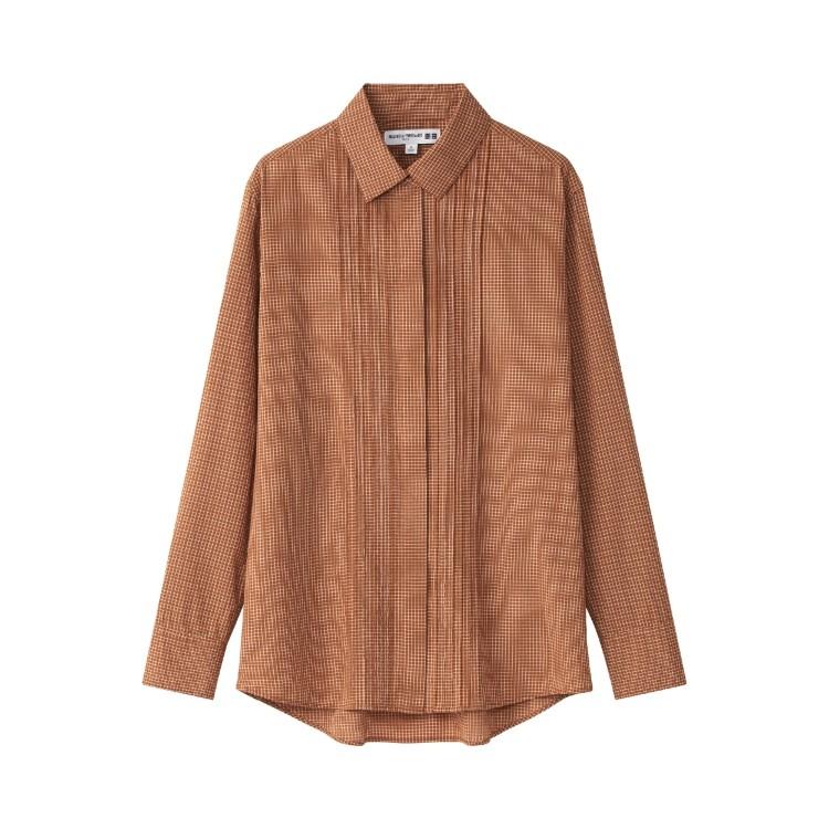 ユニクロ × イネス・ド・ラ・フレサンジュ 2021年秋冬コレクション コットンチェックピンタックシャツ(長袖)¥2990