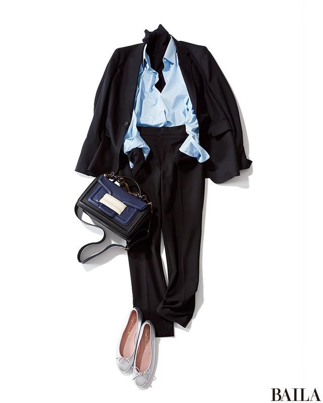 ニット×シャツで、おしゃれ&まじめな黒スタイルで通勤!_1