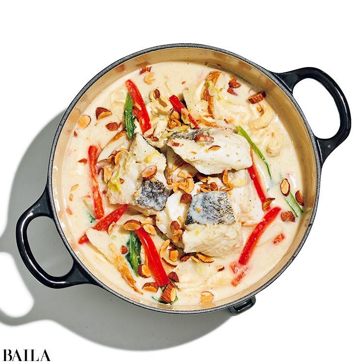 タラと小松菜の酒粕豆乳クリーミー鍋