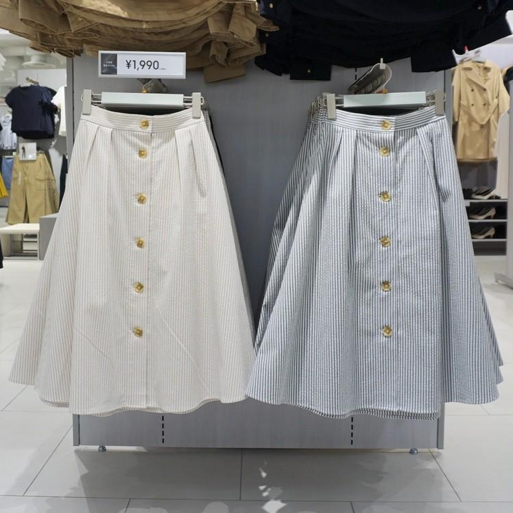 【GU(ジーユー)】渋谷店で30代女子に人気の通勤服(シアサッカーフレアスカート)