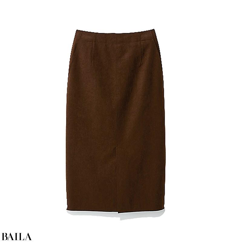 屋外でのイベント立ち会いは、洗練スカートコーデでダウンコートをシックに着こなして【2019/11/2のコーデ】_2_3