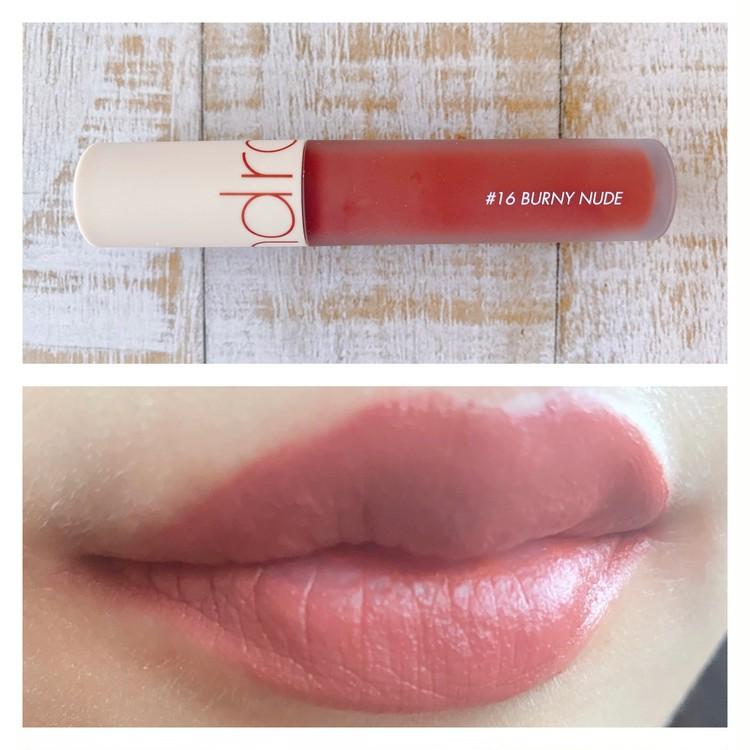 「rom&nd」(ロムアンド)のリップ「ゼロベルベットティント16BURNY NUDE(バニーヌード)」を実際に唇に塗り、試してみた