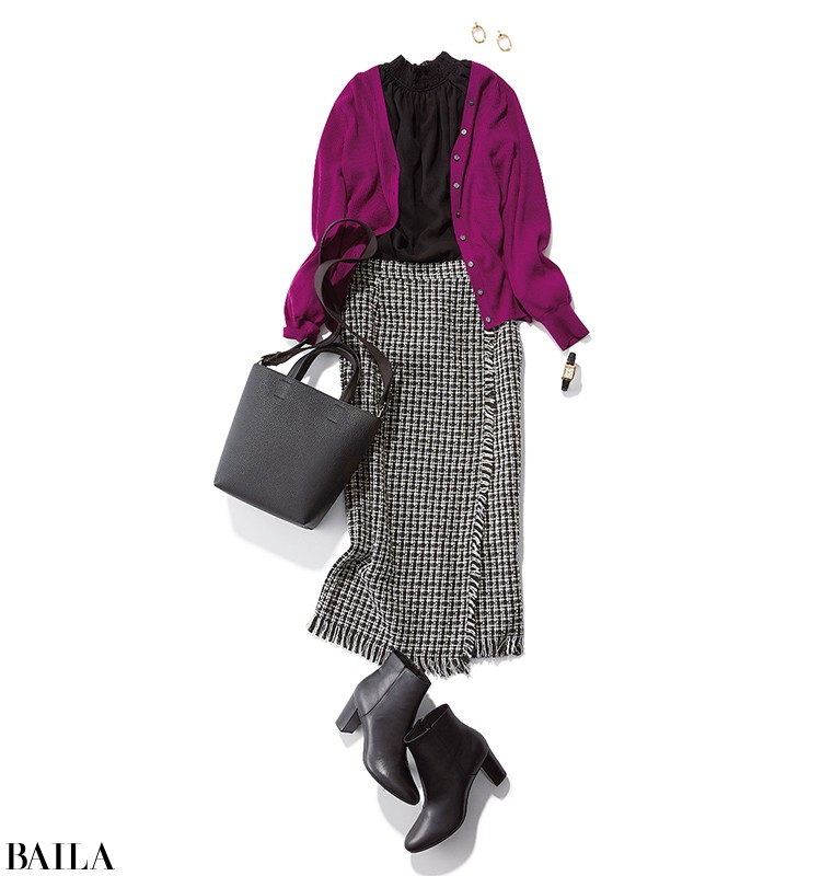 歌舞伎を見に行く日は、雅なパープルカーデの上品スカートスタイル【2019/12/5のコーデ】_1