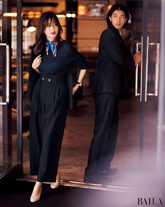 ベルテッドワイドなら、通勤ワントーンコーデが美スタイルに!_1