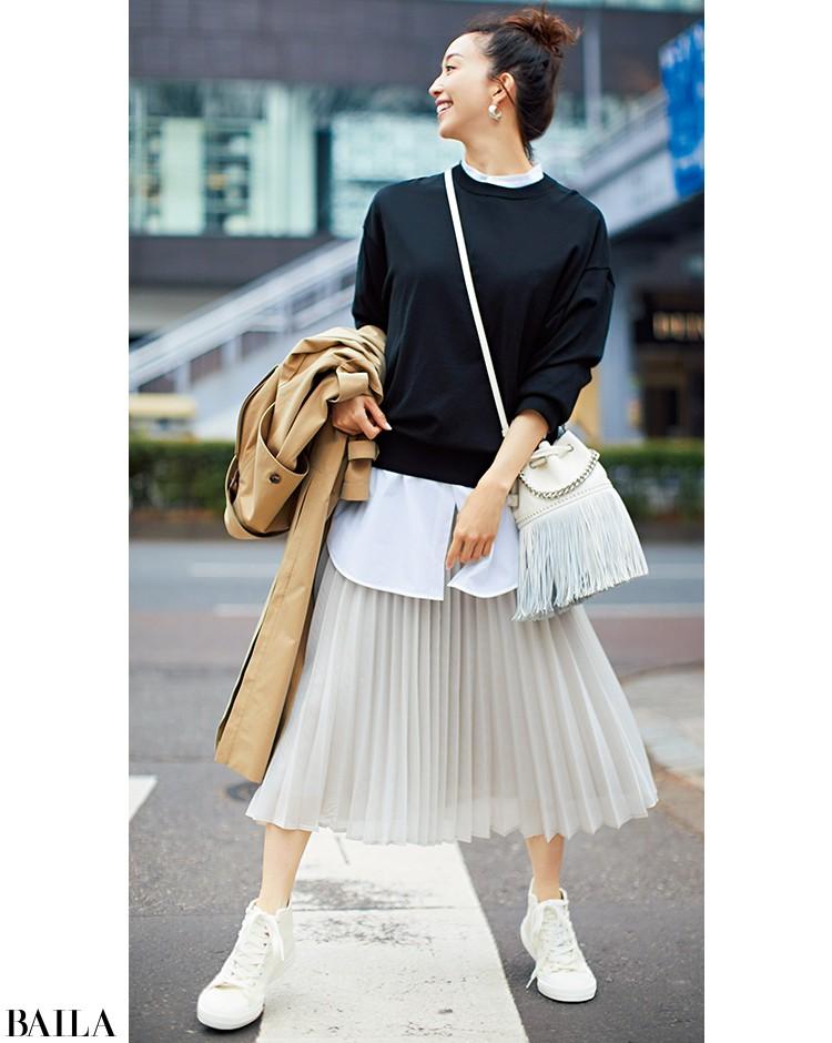友達と買い物に行く日は、きれいめレイヤードスタイルをスニーカーで外して【2020/2/23のコーデ】_1